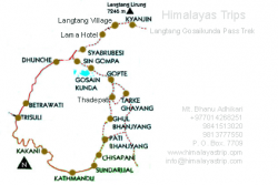 Langtang Gosaikunda Pass Trek Map