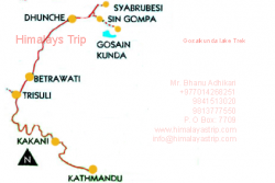 Holy Gosaikunda Lake Trek Map